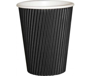 12 Oz Black Ripple Paper Cups X 500